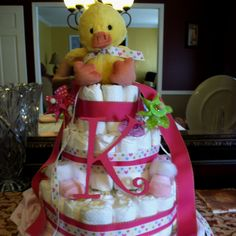 Diaper cake for precious baby girl