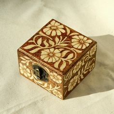 Beautiful Wooden Pyrography Box Decorated With Flowers And Hearts