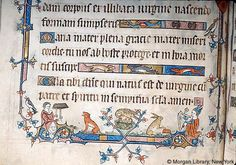 """DuBois Hours miniature, c. 1325-1330, England    From: Corsair: The Online Research Resource of The Pierpont Morgan Library, Images from Medieval and Renaissance Manuscripts MS M.0700, fol. 031v detail.    Description: """"In lower margin, pelican in her piety flanked by dog and rabbit..."""""""