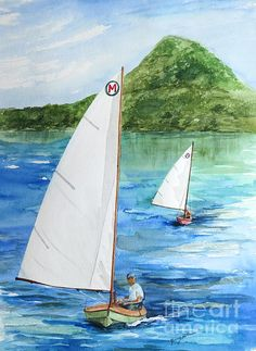 """Watercolor Painting - """"After the Race""""  - by Nancy Patterson.  Two Mint design Classic Moth Boats"""