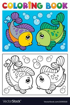 coloring pages - Coloring book with fish theme 2 Royalty Free Vector Image Art Drawings For Kids, Fish Drawings, Drawing For Kids, Painting For Kids, Cute Coloring Pages, Coloring Pages For Kids, Coloring Books, Kids Coloring, Kids Art Class