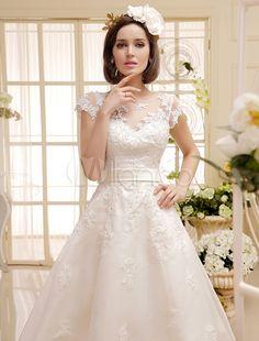 Ausgefallenes Brautkleid kurz Spitzen in Elfenbeinfarbe Milanoo