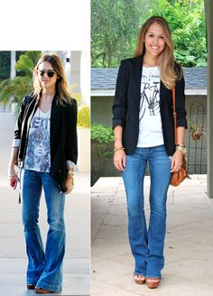 J's Everyday Fashion. style inspiration. Black blazer, graphic tee, boot cut jeans, platform mules