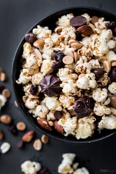 This Spiced Trail Mix Popcorn has a kick of heat paired with the saltiness of nuts, and the sweetness of chocolate - perfect for noshing at the campsite, picnic, or even movie-night on the couch.