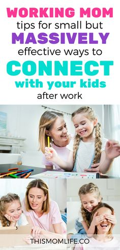 Working Mom Tips for connecting with kids after work. Includes 10 activities for bonding with kids in the evening that are easy for Mom to stick to. #working #workingmom #momhacks #kids #kidsactivities #routine #mom #parenting #family