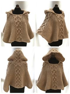 Crochet this chunky and warm poncho with decorative twist cable design and cosy hood. Perfect for chilly days or nights.                                                                                                                                                                                 More