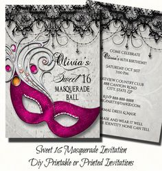 Rosa dulce dieciséis invitación fiesta de por TheInspiredEdge
