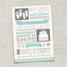 Printable beach bridal shower invitation by glitterandshineshop bridal shower invitation beach destination wedding by cadencepaige filmwisefo