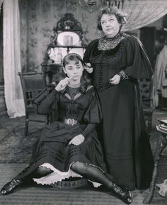 Audrey Hepburn photographed with Doris Patson in the 1951 Broadway production of Gigi.