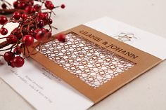 Chrystalace Wedding Stationery Autumn inspired invitation with intricate laser cutting. Autumn Inspiration, Laser Cutting, Wedding Stationery, Really Cool Stuff, Stationary, Feminine, Gift Wrapping, Invitations, Couture