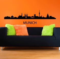 Munich Skyline Wall Sticker. Munich, the dynamic city of Germany beckons you in this astoundingly accurate representation of its great skyline in these wall quotes with great attractions and inspiring architectural beacons across the length of the skyline like Olympiaturm and Deutsches museum. http://walliv.com/munich-skyline-wall-sticker-wall-art-decal-3282