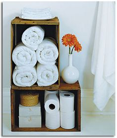 Wine Crate Storage- I like this idea for my bathroom. Now where to get wine crates. Linen Storage, Crate Storage, Storage Ideas, Towel Storage, Storage Solutions, Storage Boxes, Paper Storage, Easy Storage, Small Storage