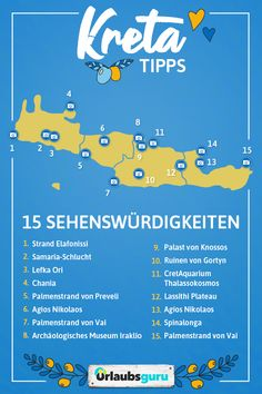 Top 15 Sehenswürdigkeiten auf Kreta Crete is one of the most popular tourist destinations in Greece. Find out in my article which are the top 15 Crete sights! Greece Destinations, Honeymoon Destinations, Holiday Destinations, Mykonos, Santorini Greece, Tenerife, Crete Holiday, Top 15, Creta