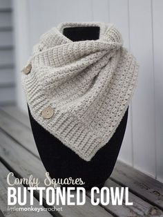 Comfy Squares Buttoned Cowl Crochet Pattern | Free button cowl crochet pattern by Little Monkeys Crochet | made with Lion Brand Wool-Ease Yarn