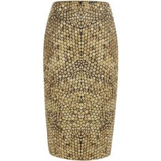 Alexander McQueen Gold Honeycomb Jacquard Pencil Skirt ($1,855) ❤ liked on Polyvore