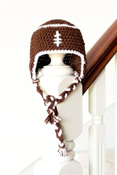 Baby Football Earflap Hat Crochet Pattern via Hopeful Honey