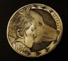 Ronald Proulx - Wolf Boy Hobo Nickel, Rare Coins, Wolf, Carving, Art, Art Background, Wood Carvings, Kunst, Wolves