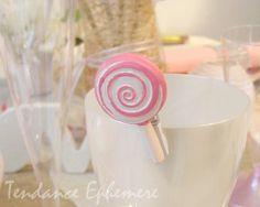 Bonbon rose en resine sur pince blanche en paquet de 6