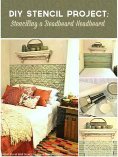 Layers of pattern!   DIY Stencil Project: Painting a Wood Beadboard Headboard with Royal Design Studio's Indian Floral Wall Stencil