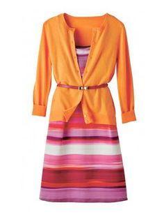 For a complete summer work outfit add BRIGHT colors!! This outfit is great for hiding thighs and her waist.