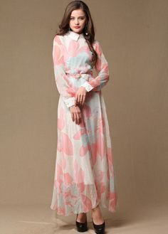 Pink Printed Sleeved Maxi  | 2014 New arrival women long sleeve maxi dress high quality silk runway dress floor length long full dresses for spring & autumn-in Dresses f... | tags: hijab, hijab style, hijab fashion