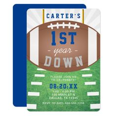 First Year Down Football Theme 1st Birthday Party Invitation 1 Year Old Birthday Party, Boys First Birthday Party Ideas, 1st Birthday Party Invitations, Birthday Themes For Boys, Baby Boy First Birthday, Boy Birthday Parties, Birthday Photos, Football Party Invitations, Football First Birthday