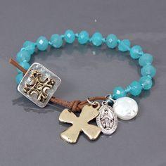 Turquoise stone relic charm bracelet from www.cowgirlshine.com $16