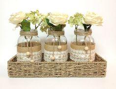 4 piece purlap and lace covered mason jar vases - home decor, wedding decor, country style vases, unique decor via Etsy