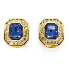 Vintage Gold Tone Christian Dior Blue Glass Paste Clip On Earrings | Clarice Jewellery | Vintage Jewellery | Vintage Costume Jewellery