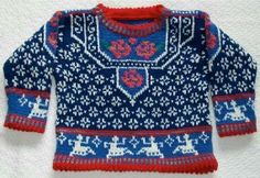Amarinalevin's Etsy Shop: Pattern- A colorful pattern of white snowflakes on dark blue. The inset is variegated red roses and green leaves on periwinkle. The sleeves are variations on White Patterns, Color Patterns, Color Charts, Hand Knitting, Knitting Patterns, Kids Knitting, Creative Knitting, Knitting Ideas, Dark Red Background