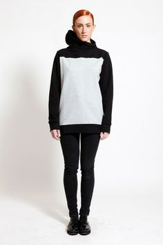Two- toned assymetric turtle neck sweatshirt by DIG ATHENS. At the end, it is all about the details! Hoodies, Sweatshirts, Normcore, Turtle Neck, Athens, Sweaters, Queen, Collection, Color