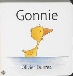 Gonnie, Olivier Dunrea. In dit eerste deel is Gonnie, een klein gansje, haar rode lievelingslaarsjes kwijt. Na lang zoeken vindt ze ze uiteindelijk terug aan de poten van een ander gansje, Gijsje. Gijsje mag één laarsje houden en ze worden dikke vriendinnen. € 8,95