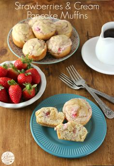 Strawberries and Cream Pancake Muffins l www.a-kitchen-addiction.com l #muffins #strawberries #breakfast