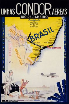 This vintage poster for Condor Airlines shows the cities served by the airline. Circa 1930s.