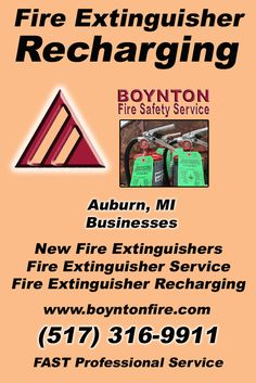 Fire Extinguisher Recharging Auburn, MI (517) 316-9911 Local Michigan Businesses Discover the Complete Fire Protection Source.  We're Boynton Fire Safety Service.. Call us today!