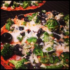 Quick & Easy Home Baked Pizza using my beloved Ezekiel sprouted grain tortillas (eating one as I pin this!)