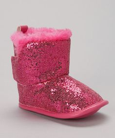 Take a look at this Fuchsia Sequin Boot by Adorababy on #zulily today!