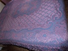 Big Antique French bedspread throw coverlet bed spread, blue pink satin woven throw w ROMANTIC roses reversible french bed linens w fringes by MyFrenchAntiqueShop on Etsy