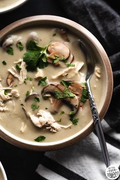 Creamy Chicken and Mushroom Soup This dairy free soup uses cauliflower and potatoes to create a creamy base. Feel free to remove the potatoes and use a little more cauliflower if you prefer! Vegan Mushroom Soup, Mushroom Chicken, Creamy Chicken, Healthy Chicken, Homemade Bone Broth, Coconut Milk Soup, Dairy Free Soup, Soup Recipes, Healthy Recipes