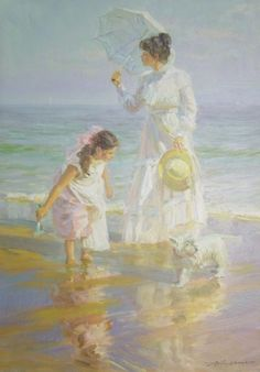 Alexander Averin - Come and Play, Young Girl and Mother with their Dog