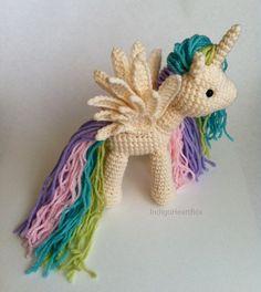 Rainbow unicorn stuffed- $7 etsy pattern - Looks like Princess Celestia!!!!!!!   Like the wings