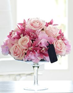 This luxury arrangement containing roses, hydrangeas and mini cymbidium orchids looks dazzling as a centrepiece. Want this in white light pink and bright pink Cheap Flowers, All Flowers, Fresh Flowers, Happy Flowers, Send Flowers, Flowers Online, Colorful Flowers, Wedding Flowers, Rosen Arrangements