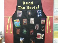 Bulletin board for the elementary school library I'm student teaching at.  Has books that were made into films. ~Shelby~