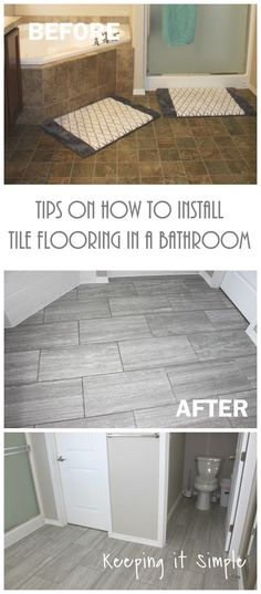 How To Tile A Bathroom Floor Its Done 12x24 Tile Slate And