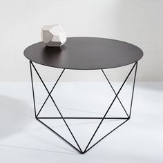 """Downstairs Lounge B Larger Side Table 24"""" x 24"""" Eric Trine Octahedron Side Table - Black"""