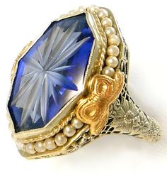 14K Antique BELAIS Art Deco sapphire pearl filigree ring. Diamonds in the Library.