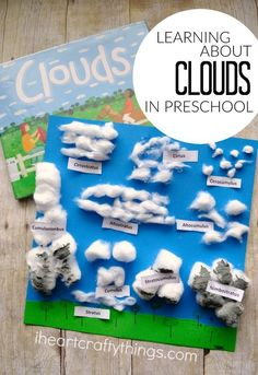 This preschool cotton ball clouds activity is great for preschoolers learning all about the weather. Have fun making clouds out of cotton balls and then use the printable to cut out and label all of your clouds. Super cute toddler science activity!
