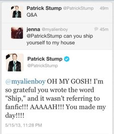 XD Patrick!! Hahaha!! I cant believe he knows the fanfic term for ship!!
