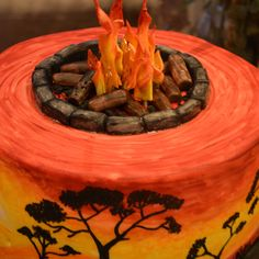 The Cake Artists - SunSet Cake With a Fire topper