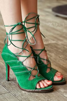 Lace-Up Solid Color Peep Toe Shoes